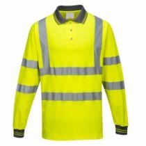 Portwest S271 Hosszú ujjú jól láthatósági pamutgazdag galléros póló
