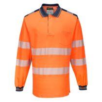 Portwest T184 Jól láthatósági hosszú ujjú galléros póló