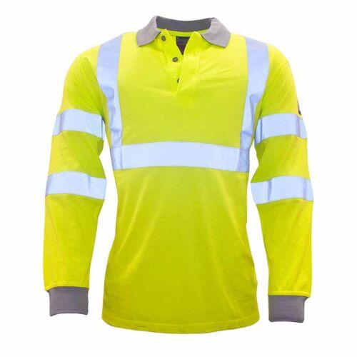 Portwest FR77 Lángálló és antisztatikus, láthatósági, hosszú ujjú galléros póló