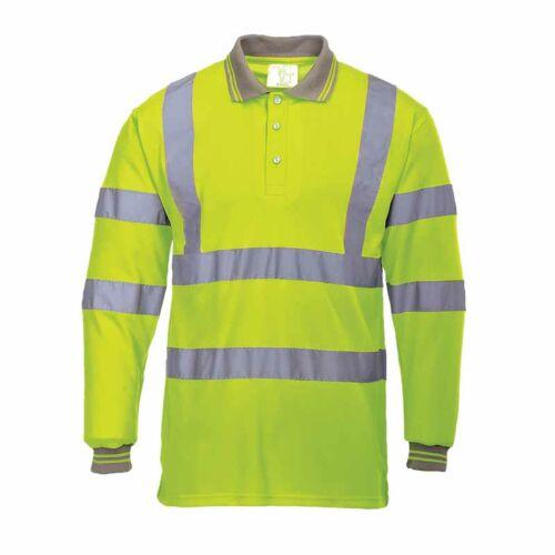 Portwest S277 jól láthatósági hosszú ujjú galléros póló